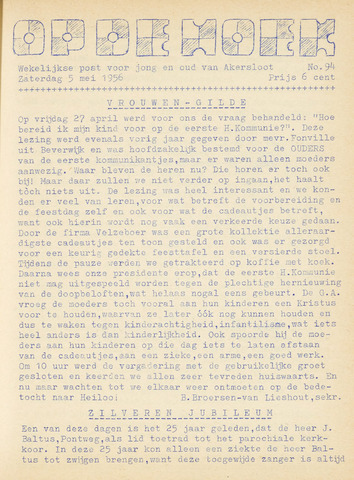 Op De Hoek, weekblad voor Akersloot 1956-05-05