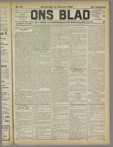 Ons Blad : katholiek nieuwsblad voor N-H 1918-02-14