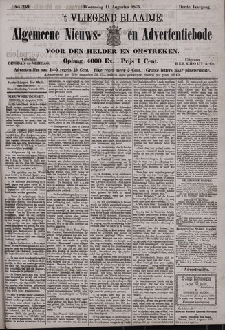 Vliegend blaadje : nieuws- en advertentiebode voor Den Helder 1875-08-11