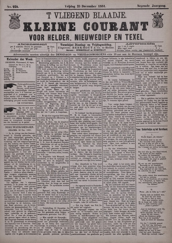 Vliegend blaadje : nieuws- en advertentiebode voor Den Helder 1881-12-23