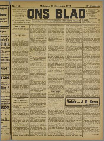 Ons Blad : katholiek nieuwsblad voor N-H 1916-12-16