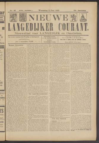 Nieuwe Langedijker Courant 1920-06-09