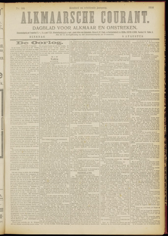 Alkmaarsche Courant 1916-08-08
