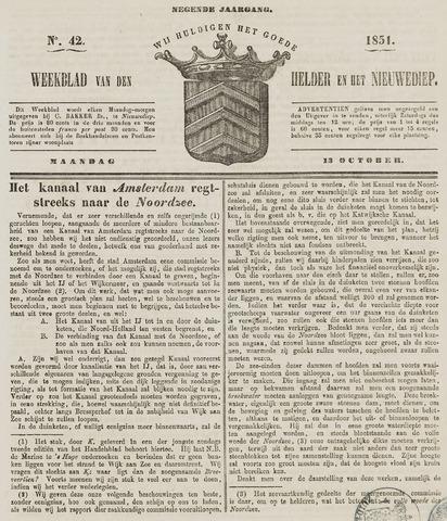 Weekblad van Den Helder en het Nieuwediep 1851-10-13