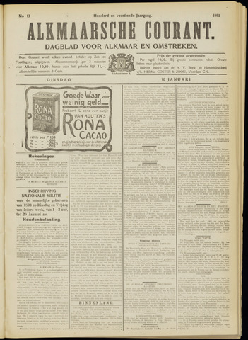 Alkmaarsche Courant 1912-01-16