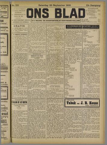 Ons Blad : katholiek nieuwsblad voor N-H 1916-09-23