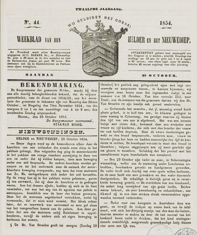 Weekblad van Den Helder en het Nieuwediep 1854-10-30