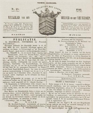 Weekblad van Den Helder en het Nieuwediep 1846-07-13