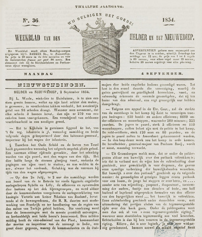 Weekblad van Den Helder en het Nieuwediep 1854-09-04
