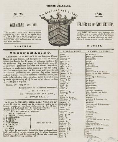 Weekblad van Den Helder en het Nieuwediep 1846-06-22