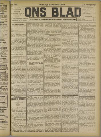 Ons Blad : katholiek nieuwsblad voor N-H 1916-10-03