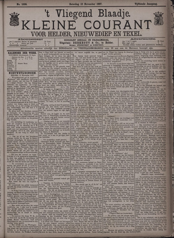 Vliegend blaadje : nieuws- en advertentiebode voor Den Helder 1887-11-12