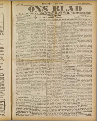 Ons Blad : katholiek nieuwsblad voor N-H 1919-04-07