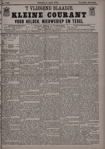 Vliegend blaadje : nieuws- en advertentiebode voor Den Helder 1884-04-05