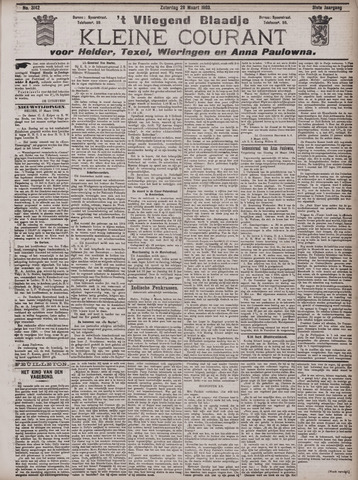 Vliegend blaadje : nieuws- en advertentiebode voor Den Helder 1903-03-28