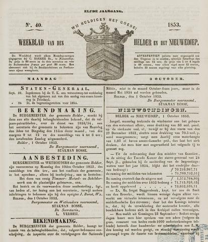 Weekblad van Den Helder en het Nieuwediep 1853-10-03