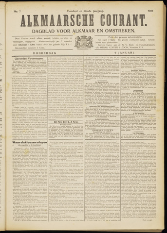Alkmaarsche Courant 1908-01-09