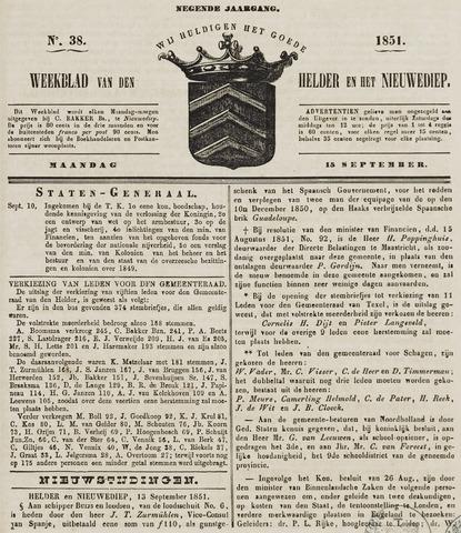 Weekblad van Den Helder en het Nieuwediep 1851-09-15