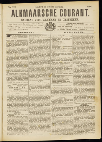 Alkmaarsche Courant 1906-09-20