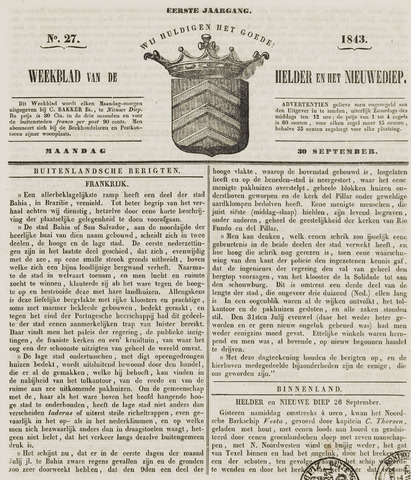 Weekblad van Den Helder en het Nieuwediep 1843-10-02