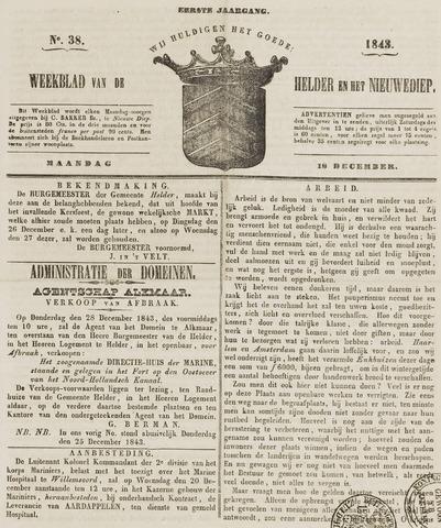 Weekblad van Den Helder en het Nieuwediep 1843-12-18