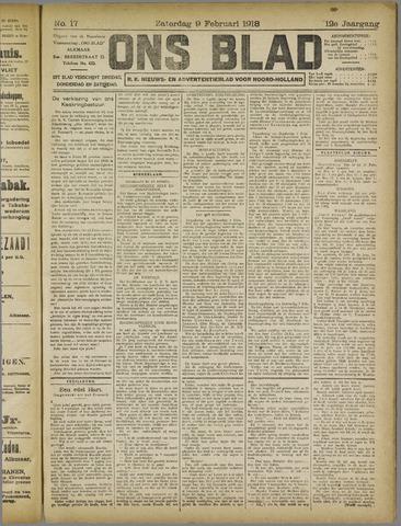 Ons Blad : katholiek nieuwsblad voor N-H 1918-02-09