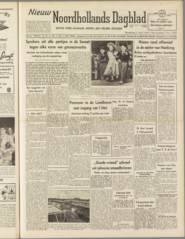 Nieuw Noordhollandsch Dagblad : voor Alkmaar en omgeving 1949-04-21