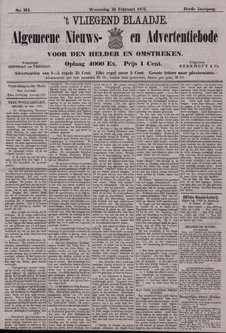 Vliegend blaadje : nieuws- en advertentiebode voor Den Helder 1875-02-24