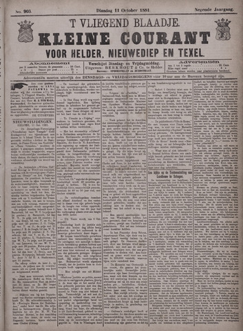 Vliegend blaadje : nieuws- en advertentiebode voor Den Helder 1881-10-11