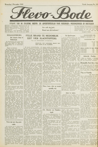 Flevo-bode: nieuwsblad voor Wieringen-Wieringermeer 1949-11-02