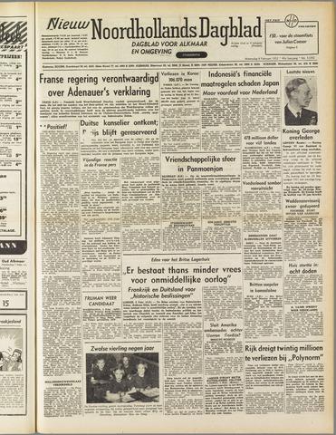 Nieuw Noordhollandsch Dagblad : voor Alkmaar en omgeving 1952-02-06