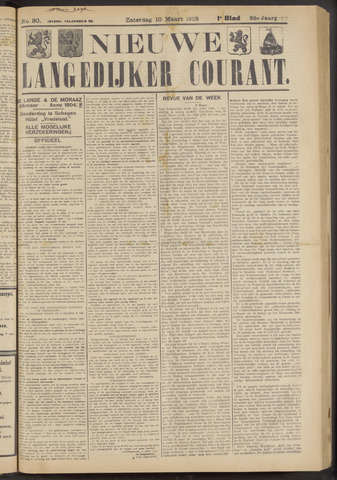 Nieuwe Langedijker Courant 1923-03-10