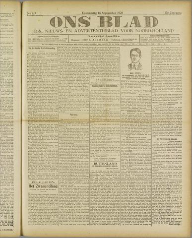 Ons Blad : katholiek nieuwsblad voor N-H 1920-09-16