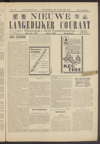 Nieuwe Langedijker Courant 1933-01-28