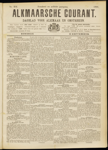 Alkmaarsche Courant 1906-09-11