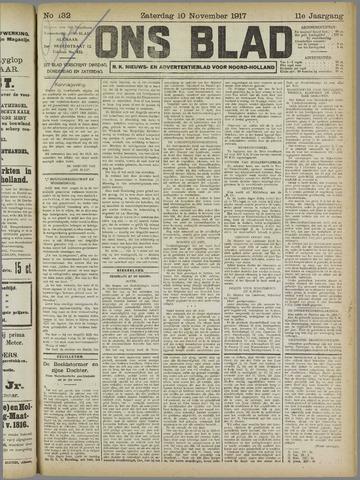 Ons Blad : katholiek nieuwsblad voor N-H 1917-11-10
