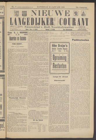 Nieuwe Langedijker Courant 1930-01-18