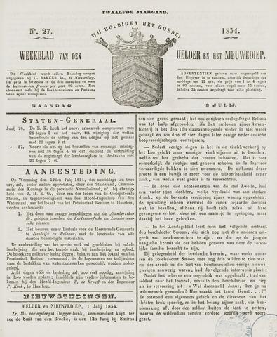 Weekblad van Den Helder en het Nieuwediep 1854-07-03