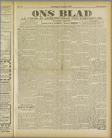 Ons Blad : katholiek nieuwsblad voor N-H 1920-08-09