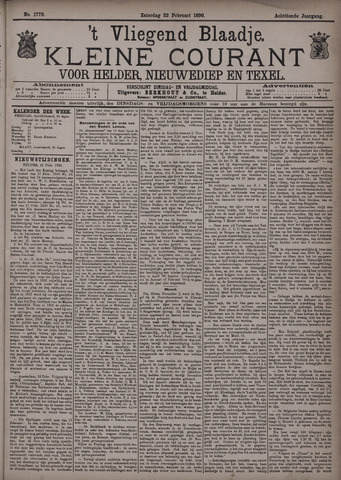 Vliegend blaadje : nieuws- en advertentiebode voor Den Helder 1890-02-22