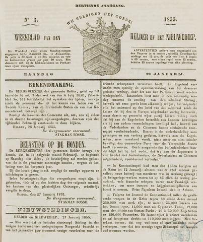 Weekblad van Den Helder en het Nieuwediep 1855-01-29