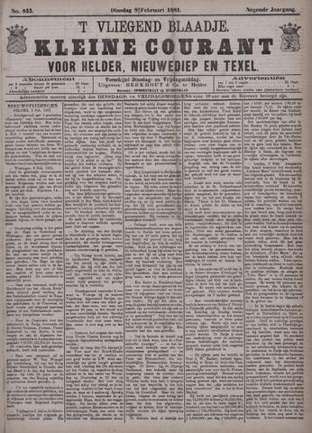 Vliegend blaadje : nieuws- en advertentiebode voor Den Helder 1881-02-08
