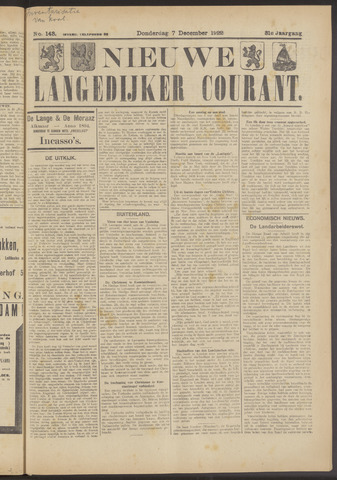 Nieuwe Langedijker Courant 1922-12-07