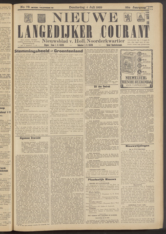 Nieuwe Langedijker Courant 1929-07-04