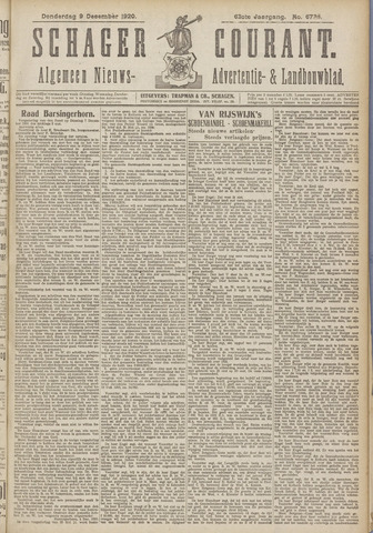 Schager Courant 1920-12-09
