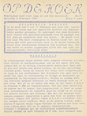 Op De Hoek, weekblad voor Akersloot 1956-02-04
