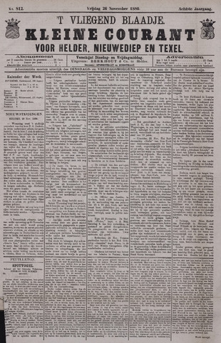 Vliegend blaadje : nieuws- en advertentiebode voor Den Helder 1880-11-26
