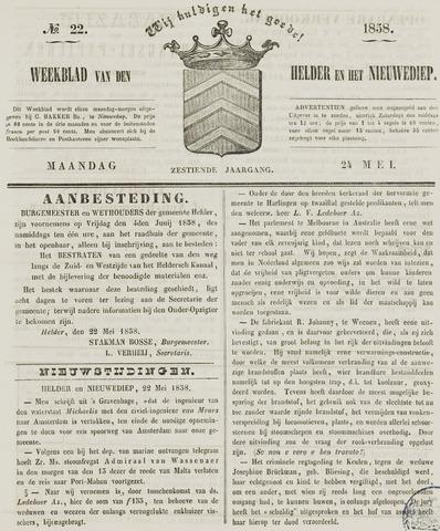 Weekblad van Den Helder en het Nieuwediep 1858-05-24