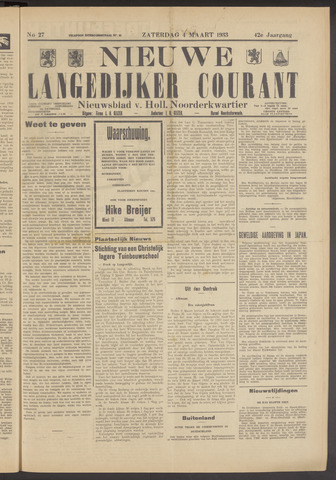 Nieuwe Langedijker Courant 1933-03-04