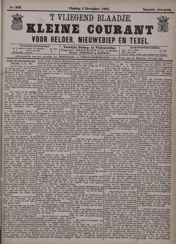 Vliegend blaadje : nieuws- en advertentiebode voor Den Helder 1881-12-06